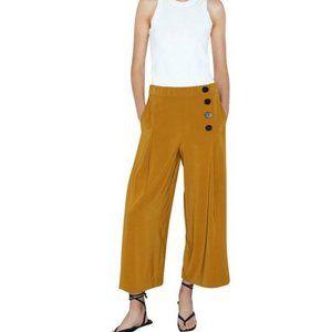 Zara Wide Leg Flowy Cropped Pants Tan Size XXL